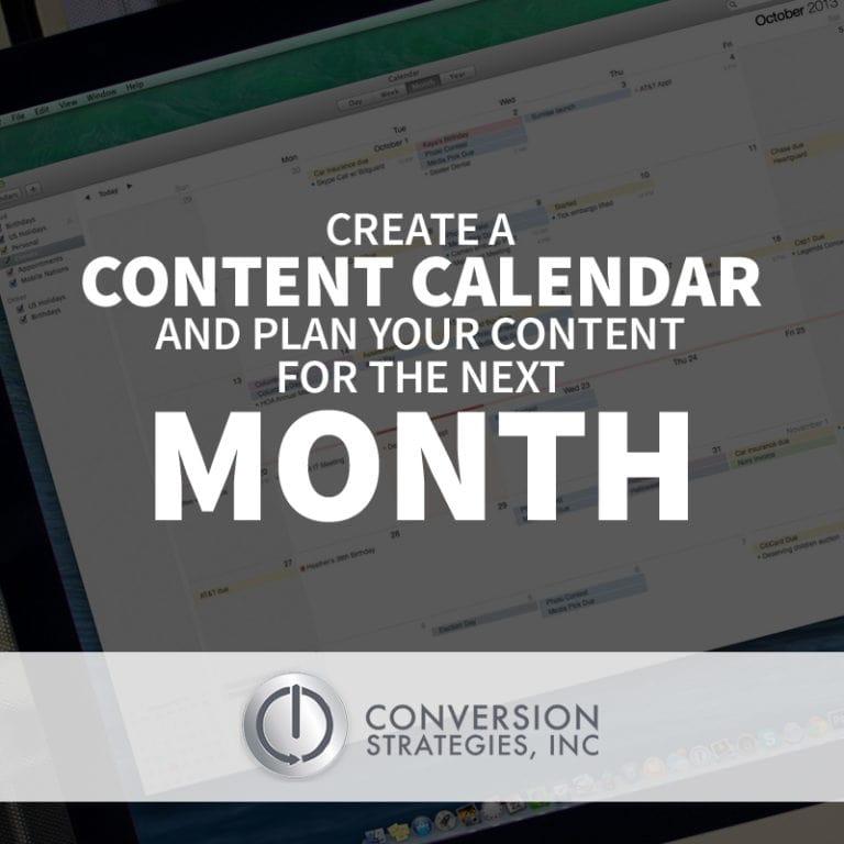 social media content calendar - conversion strategies Chicago, IL