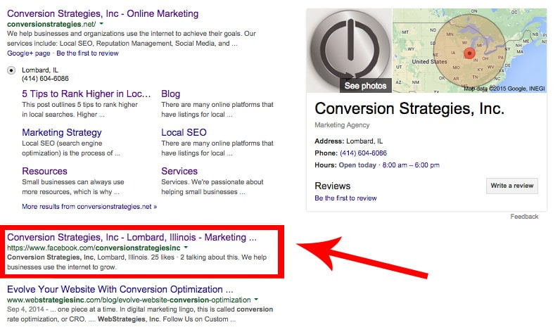 website vs social media: results from a Google search for conversion strategies inc